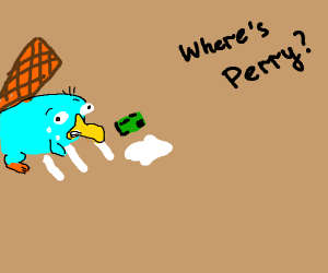 Perry the platypus snorts coke