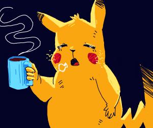 Pikachu got some coffee