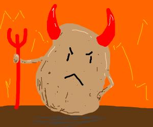 an angry potato devil