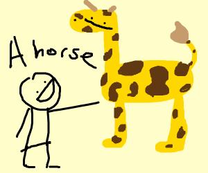 Man thinks a giraffe is a horse