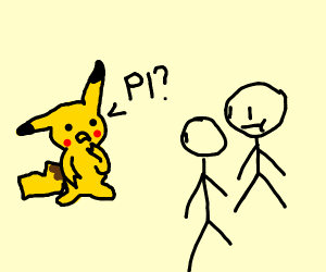 Pikachu questioning stick figures