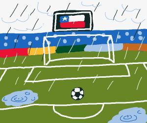 Raining on a soccer field