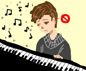 Sad deaf person, can't hear piano