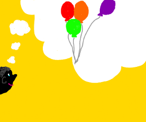 someone thinking of balloons