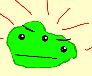 angry green glob with three eyes