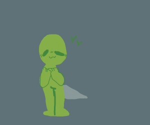 Cute green guy with a drill as tale floating