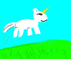 unicornio volando por el campo