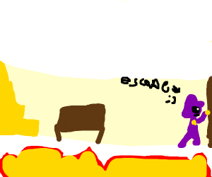 A purple man wants to escape out of the limbo