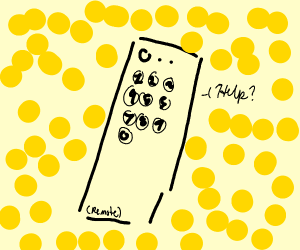 Remote control surrounded by yellow dots