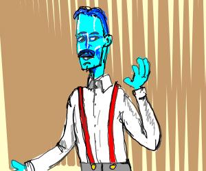 blue man with suspendors