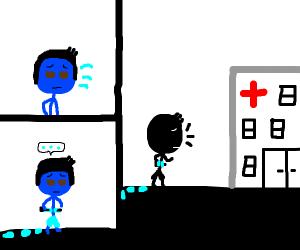 Blue tube impales man