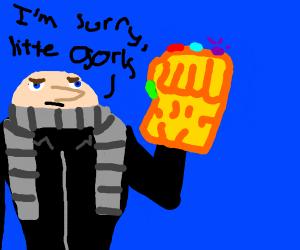gru taking infinty glove