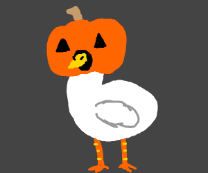 chicken with a pumpkin head
