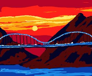 Dragon bridge in the mountains