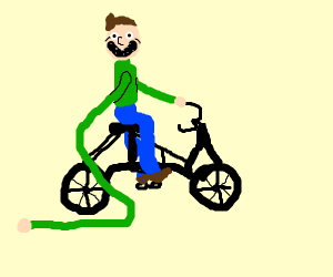 Happy guy with long arme ride a bike