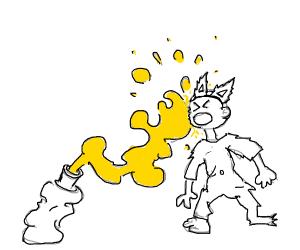 Furry gets sprayed with mustard