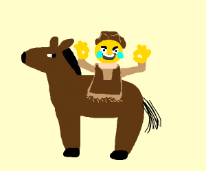 Laughing cowboy grows out of horse