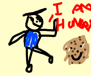 a man running to cookies
