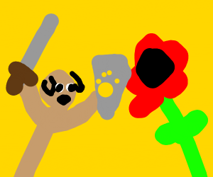 Epic dog fighting a gigantic flower