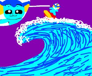surfing smug vaporeon