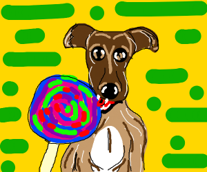 Dog eating candy