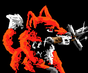fox with a blade