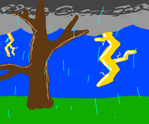bare tree in thunderstorm