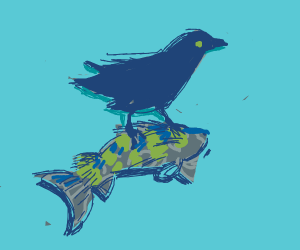 Pet crow on a perch