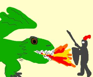 Hero fighting a dragon