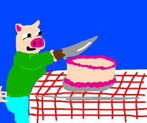 Pigman cuts cake