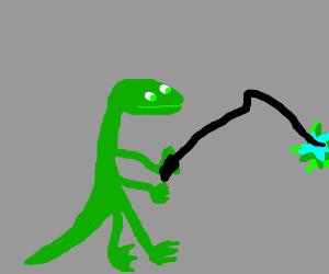 Geico Lizard with a whip