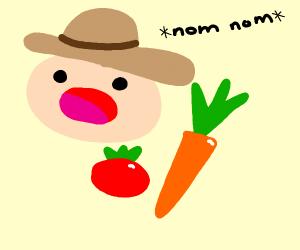Farmer consumes the Veggies