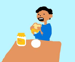 Dude eating a jam sandwich