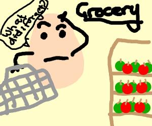 Egg grocery shopping, wonders what she forgot