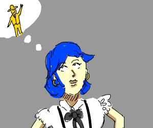 blue haired girl thinks of yellow man