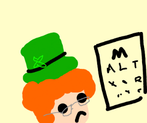 Leprechaun getting an eye exam