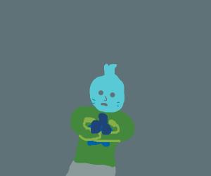 Strange Blue Child Holding Blue Objects