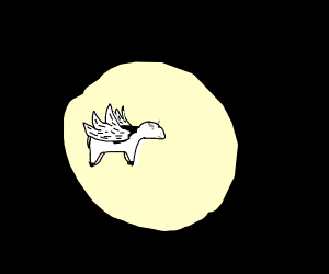 Cow flying in space in front of moon