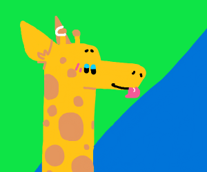 A giraffe with its tounge out