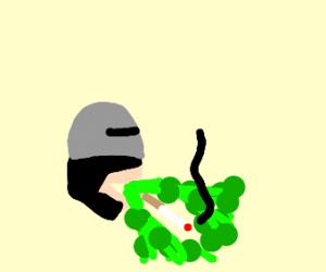 Robocop vomiting a Cigarette