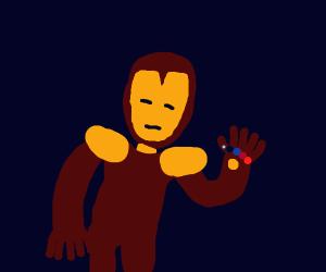 Iron man wielding the Gauntlet