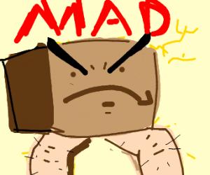 Very angry amazon box with human body