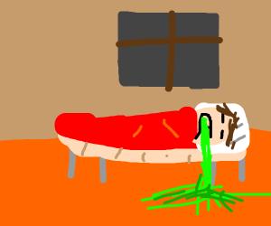 little boy vomits in bed