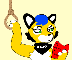 furry reads book on how to tie a noose