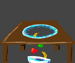 someone shot a portal on the table