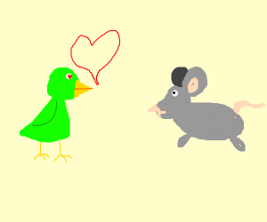 Greenny birdie loves mousey