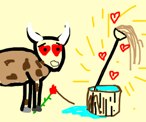 Cow loves Mop