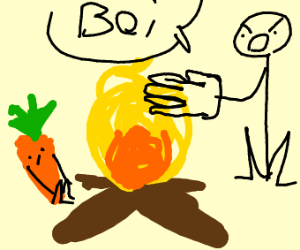 Roasting carrot on a camp fire