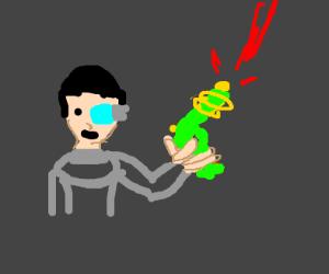 Futuristic man fires a green ray gun