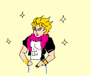 man with pink furry scarf